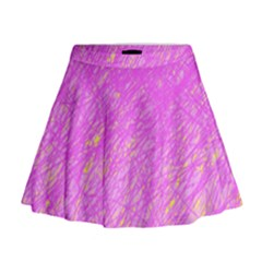 Pink Pattern Mini Flare Skirt