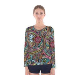 Colorful Hippie Flowers Pattern, zz0103 Women s Long Sleeve Tee