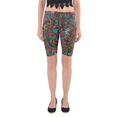 Colorful Hippie Flowers Pattern, Zz0103 Yoga Cropped Leggings