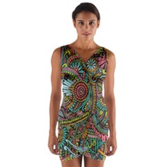 Colorful Hippie Flowers Pattern, Zz0103 Wrap Front Bodycon Dress