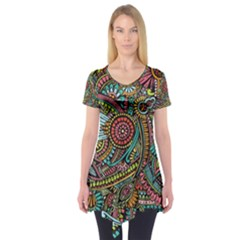 Colorful Hippie Flowers Pattern, Zz0103 Short Sleeve Tunic