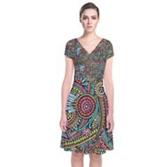 Colorful Hippie Flowers Pattern, zz0103 Short Sleeve Front Wrap Dress