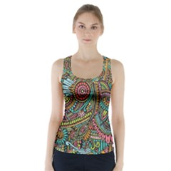 Colorful Hippie Flowers Pattern, Zz0103 Racer Back Sports Top