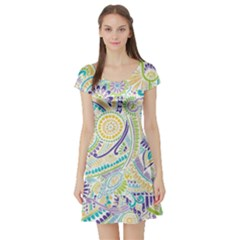 Hippie Flower Pattern Purple Yellow Green Zz0104 Short Sleeve Skater Dress
