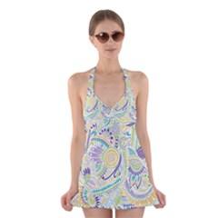 Hippie Flower Pattern Purple Yellow Green Zz0104 Halter Swimsuit Dress