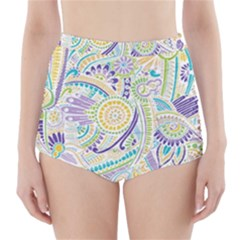 Hippie Flower Pattern Purple Yellow Green Zz0104 High-Waisted Bikini Bottoms