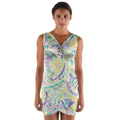 Hippie Flower Pattern Purple Yellow Green Zz0104 Wrap Front Bodycon Dress