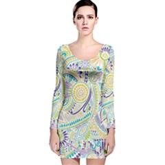 Hippie Flower Pattern Purple Yellow Green Zz0104 Long Sleeve Velvet Bodycon Dress
