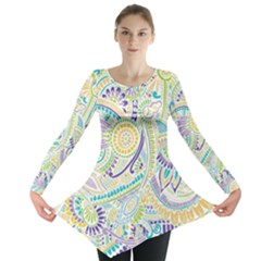 Hippie Flower Pattern Purple Yellow Green Zz0104 Long Sleeve Tunic
