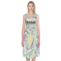 Hippie Flower Pattern Purple Yellow Green Zz0104 Midi Sleeveless Dress