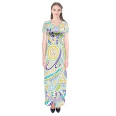 Hippie Flower Pattern Purple Yellow Green Zz0104 Short Sleeve Maxi Dress
