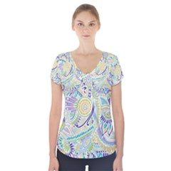 Hippie Flower Pattern Purple Yellow Green Zz0104 Short Sleeve Front Detail Top