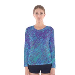 Blue pattern Women s Long Sleeve Tee