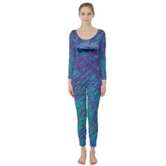 Blue pattern Long Sleeve Catsuit