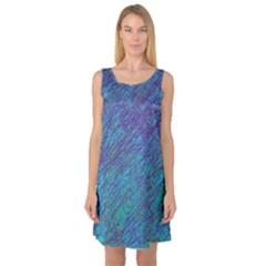 Blue pattern Sleeveless Satin Nightdress