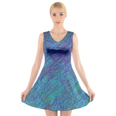 Blue pattern V-Neck Sleeveless Skater Dress