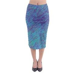 Blue pattern Midi Pencil Skirt