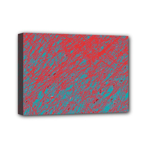 Red and blue pattern Mini Canvas 7  x 5