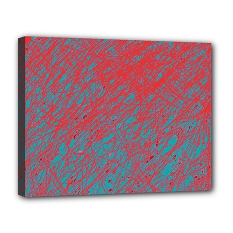 Red and blue pattern Canvas 14  x 11