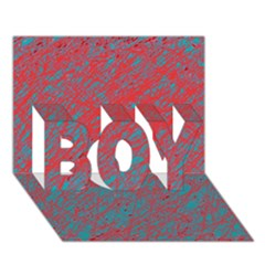 Red and blue pattern BOY 3D Greeting Card (7x5)