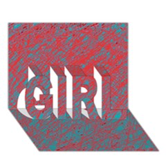 Red And Blue Pattern Girl 3d Greeting Card (7x5)
