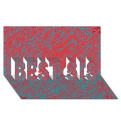 Red And Blue Pattern Best Sis 3d Greeting Card (8x4)