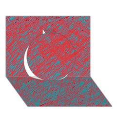 Red and blue pattern Circle 3D Greeting Card (7x5)