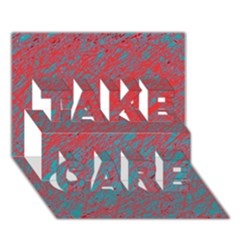 Red and blue pattern TAKE CARE 3D Greeting Card (7x5)