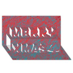 Red and blue pattern Merry Xmas 3D Greeting Card (8x4)