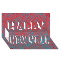 Red And Blue Pattern Happy New Year 3d Greeting Card (8x4)