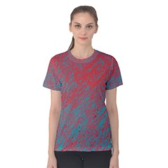 Red and blue pattern Women s Cotton Tee