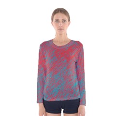 Red and blue pattern Women s Long Sleeve Tee