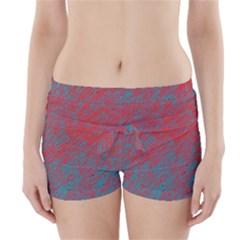 Red and blue pattern Boyleg Bikini Wrap Bottoms
