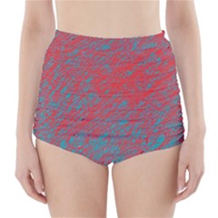Red and blue pattern High-Waisted Bikini Bottoms