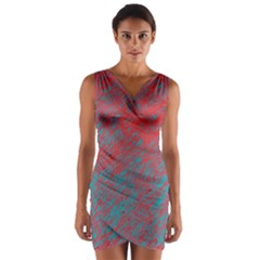 Red And Blue Pattern Wrap Front Bodycon Dress
