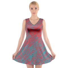 Red And Blue Pattern V Neck Sleeveless Skater Dress