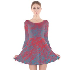 Red and blue pattern Long Sleeve Velvet Skater Dress