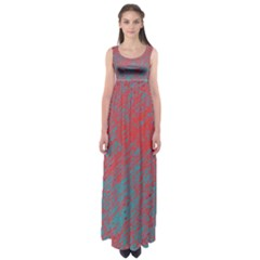 Red and blue pattern Empire Waist Maxi Dress