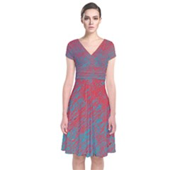 Red and blue pattern Short Sleeve Front Wrap Dress