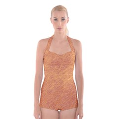 Orange pattern Boyleg Halter Swimsuit