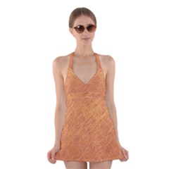Orange pattern Halter Swimsuit Dress