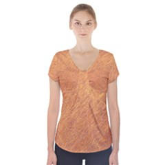 Orange pattern Short Sleeve Front Detail Top