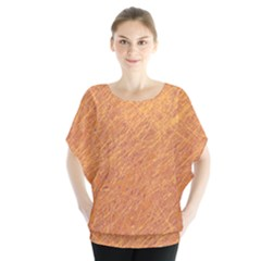 Orange pattern Batwing Chiffon Blouse
