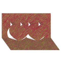 Brown pattern Twin Hearts 3D Greeting Card (8x4)