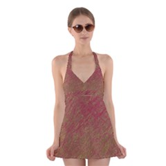 Brown pattern Halter Swimsuit Dress