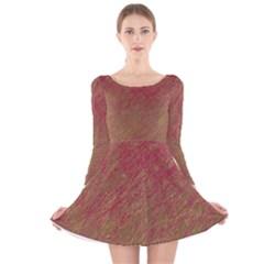 Brown pattern Long Sleeve Velvet Skater Dress