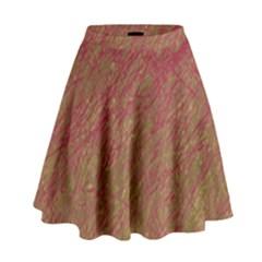Brown Pattern High Waist Skirt