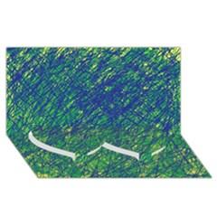 Green pattern Twin Heart Bottom 3D Greeting Card (8x4)