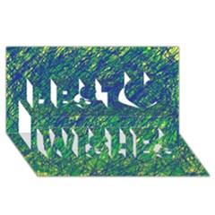 Green pattern Best Wish 3D Greeting Card (8x4)