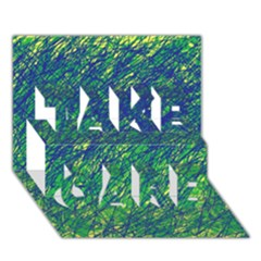 Green pattern TAKE CARE 3D Greeting Card (7x5)